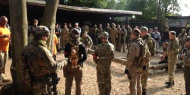 Briefing for the next mission at Skirmish Central Airsoft